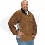 "Click to see larger version of Side Split Cowhide Welding Cape Sleeve and 20"" Bib Set"