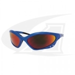 Click to see larger version of Shatterproof Safety Glasses. Shade 5 Lenses With Blue Frames
