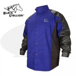 Click to see larger version of BSX™ Hybrid Flame Resistant Welding Jacket W/ Leather-Blue/Black