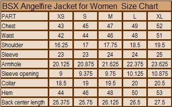 Angelfire Jacket for Women Size Chart