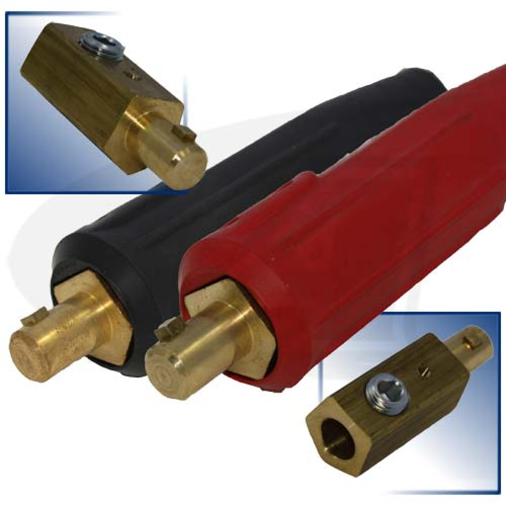 Large Image: 250 Amp Large Dinse Style Machine Connector - Black/Red Set