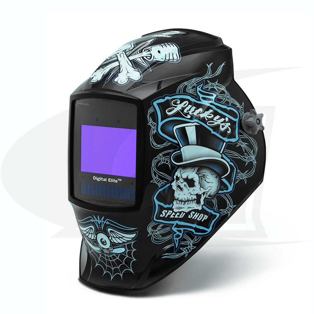 Large Image: Digital Elite Lucky\'s Speed Shop Auto-Darkening Welding Helmet