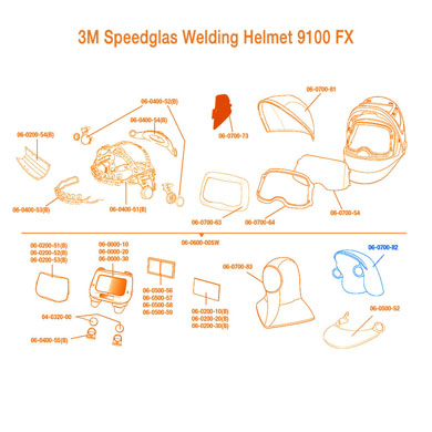 Click to see larger version of 3M Speedglas Helmet Extended Headcover 9100 FX/ 9100 FX-Air