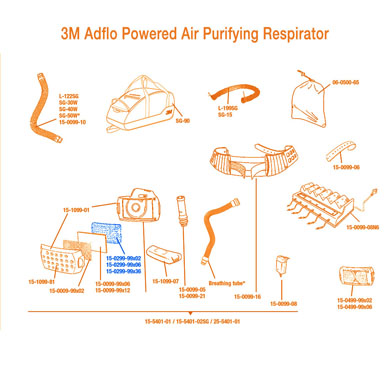 Click to see larger version of 3M Adflo Powered Air Purifying Respirator (PAPR)