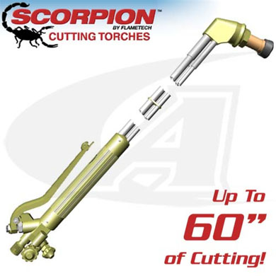 Click to see larger version of 70º Scorpion 9600 Series Cutting Torch - Any Fuel Gas