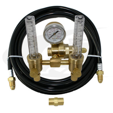 Click to see larger version of Premium Dual Argon Flowmeter w/ Purge Gas Hose Kit