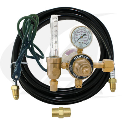 Click to see larger version of Premium Heated Co2 Flowmeter/Regulator 115V U.S Style & Gas Hose