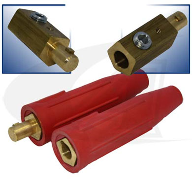 Click to see larger version of 250 Amp Large Dinse Style Cable Connector - Red