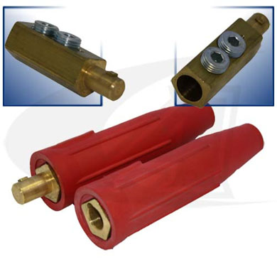 Click to see larger version of 500 Amp Large Dinse Style Cable Connector - Red