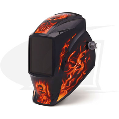 "Click to see larger version of MP-10 Passive Series - ""Inferno\"" welding helmet"