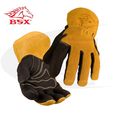 Click to see larger version of BSX Premium Pig Skin/ Cowhide MIG Welding Gloves