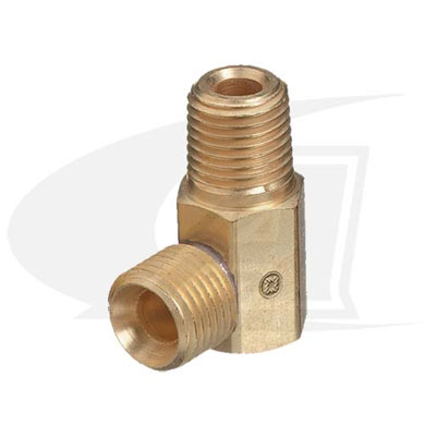 "Click to see larger version of Oxygen Adapter - 90° ""B\"" Size Male to 1/4\"" NPT Male"