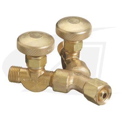 "Click to see larger version of ""B\"" Size Y Connector With Valves - Acetylene/Fuel Gas"