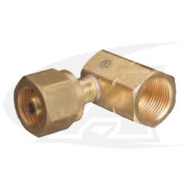 Click to see larger version of CGA-300 to CGA-510 Cylinder Adapter -- 90° Fitting