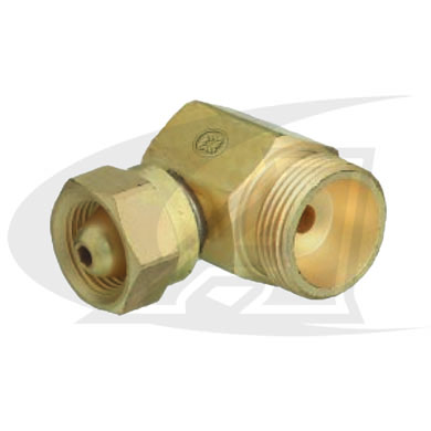 Click to see larger version of CGA-200 to CGA-520 Cylinder Adapter -- 90° Fitting