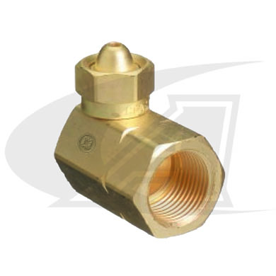 Click to see larger version of CGA-200 to CGA-510 Cylinder Adapter -- 90° Fitting