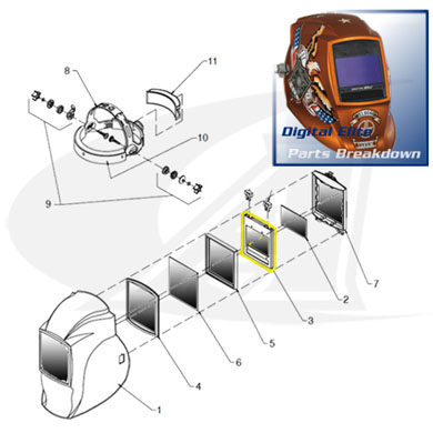 Click to see larger version of Digital Elite Replacement Auto-Darkening Lens Assembly