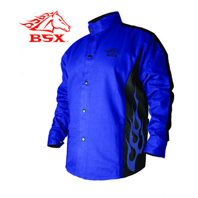 Click to see larger version of Stryker™ Flame Resistant Welding Jacket - Blue Flames
