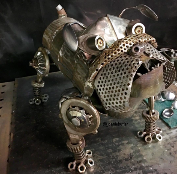 bull dog welded from scrap