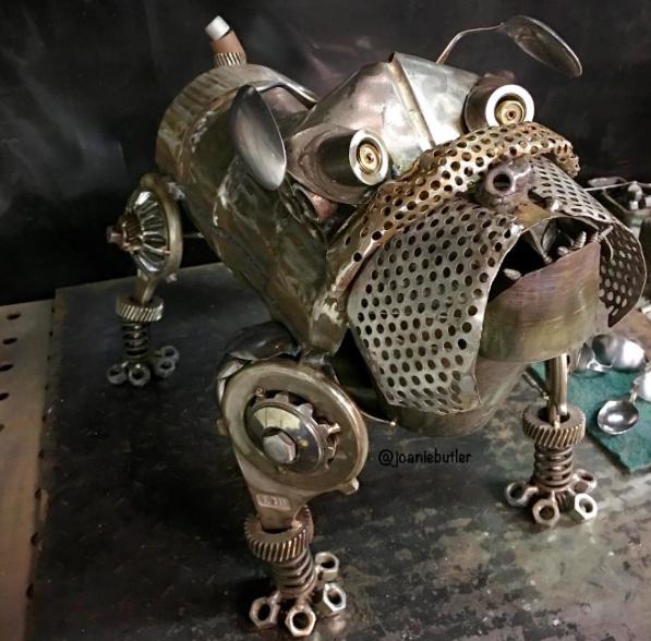 bull dog welded from scrap