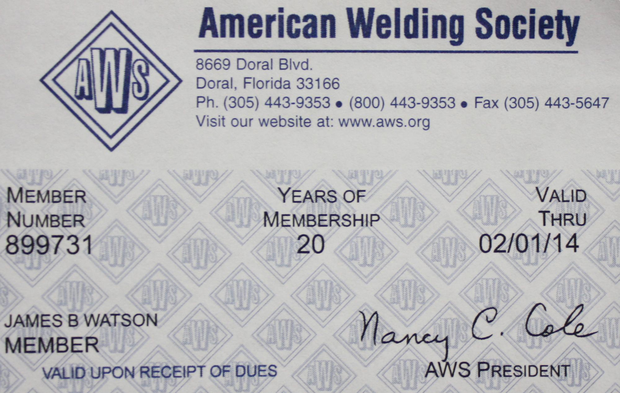 AWS Member Card