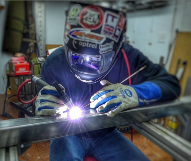 Dave Blackburn welding in Miller gloves