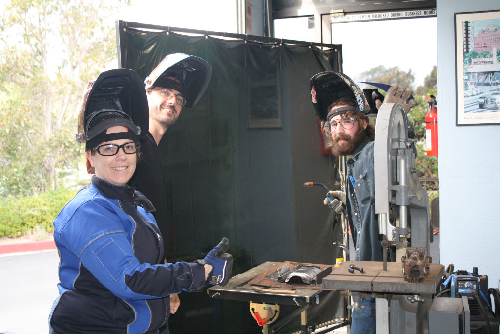 Welding with the warehouse team