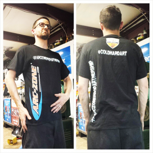 Thomas Patsis @coldhardart sporting the Arc-Zone Pro Partnership Tee