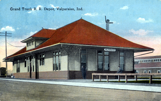 Valparaiso Indiana Grand Trunk RR Station Circa 1920
