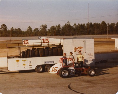 Jim Watson with Lee James and their World of Outlaw 1979 championship Sprint Car