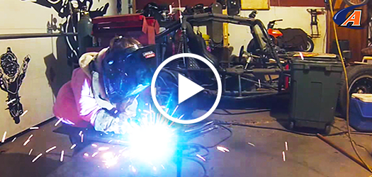 little girl MIG welding