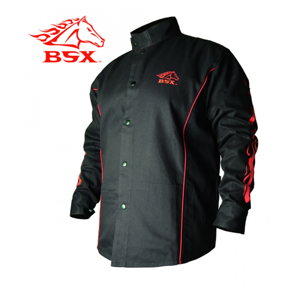 Large Image: Stryker™ Flame Resistant Welding Jacket - Black Flames