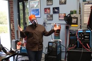 Arc-Zone's Joanie wearing Miller's Half Mask Respirator